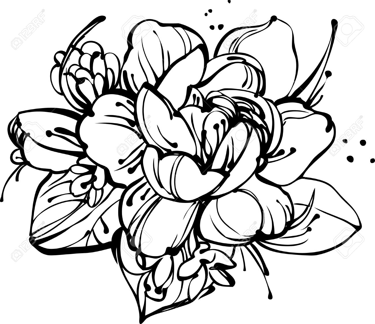 1300x1121 Flower Bunch Drawing Black And White Rose Flower Bunch Sketch