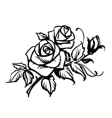 380x400 roses black outline drawing on white background vector art