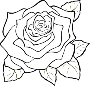 299x285 Uncoloured Rose Clip Art