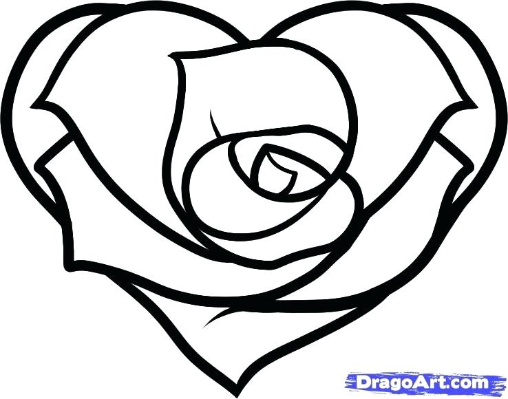 738x580 Unique Coloring Pages Of Hearts And Roses New Heart Drawing Free