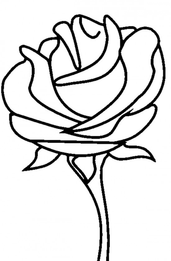 550x841 Coloring Pages Cute Draw A Rose For Kids Flower