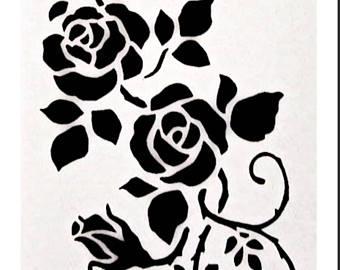 340x270 Plastic Stencil, Bird Stencil, Hummingbird, Flowers, Vines