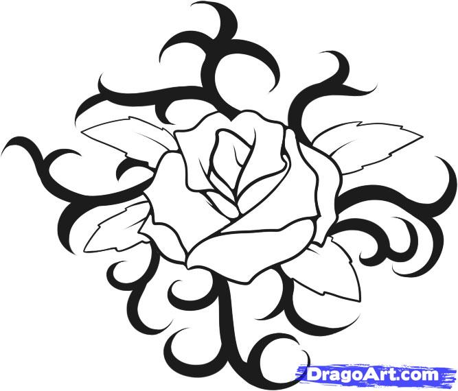 667x570 How To Draw A Rose Tattoo, Step By Step, Tattoos, Pop Culture