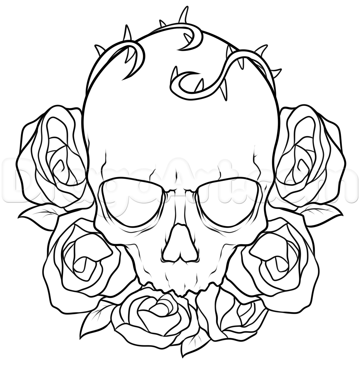 1173x1222 How To Draw A Skull And Roses Tattoo Step 7 Skulls