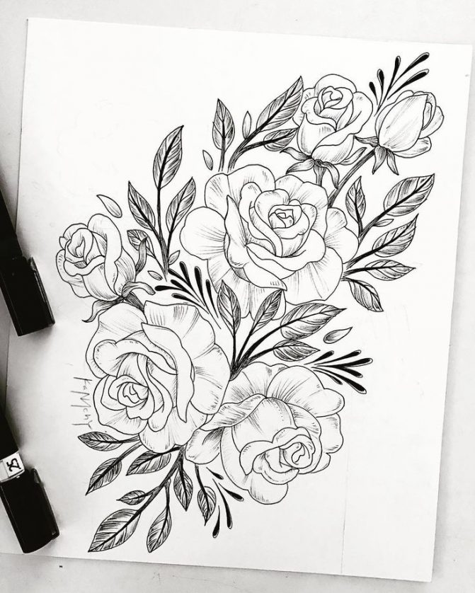 671x838 Coloring Pages Flower Drawing Designs Vine Tattoos Tattoo