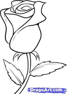 Simple Line Drawings Of Roses