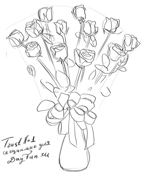 500x611 How To Draw A Bouquet Of Roses Step By Step