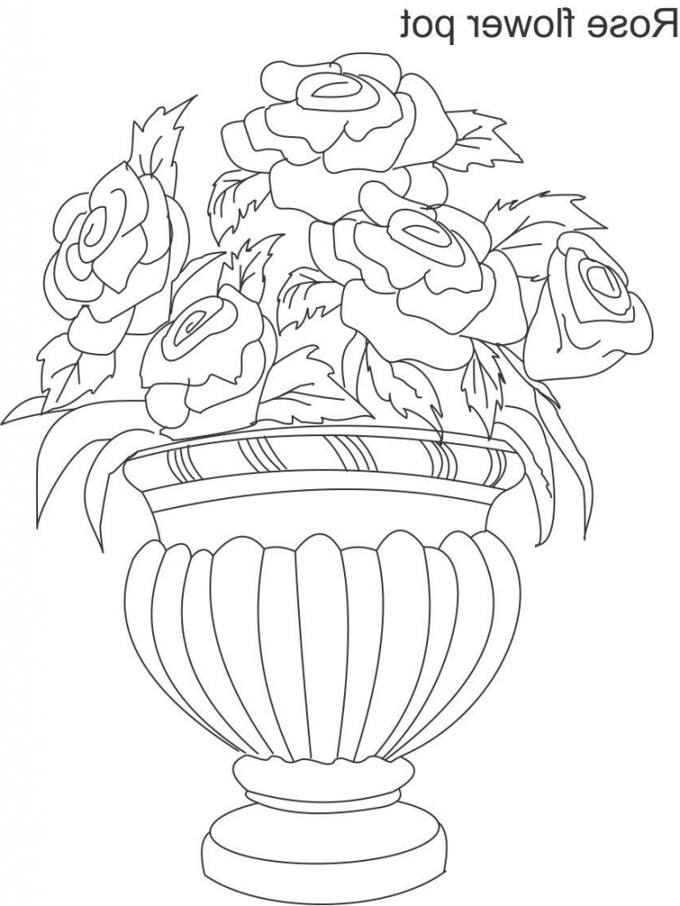 769x1024 Pencil Drawing Images Of Rose Flowers Pot Flower Pot Drawing