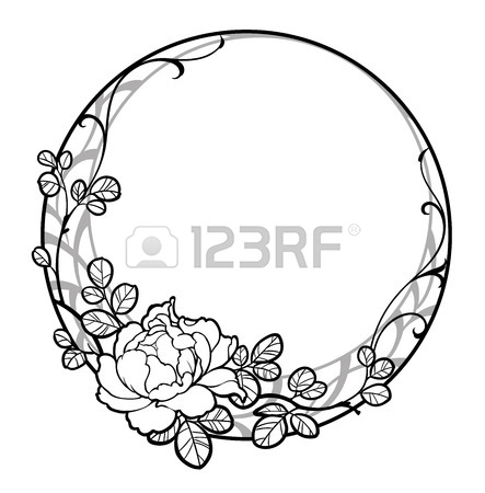 443x450 Illustration Of Decorative Round Frame With Peony Rose Flower
