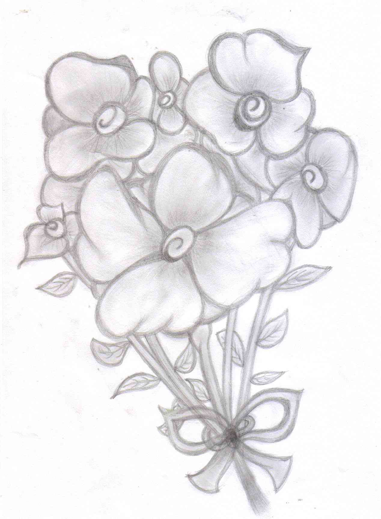 1268x1726 Bouquet Of Flowers Pencil Drawing