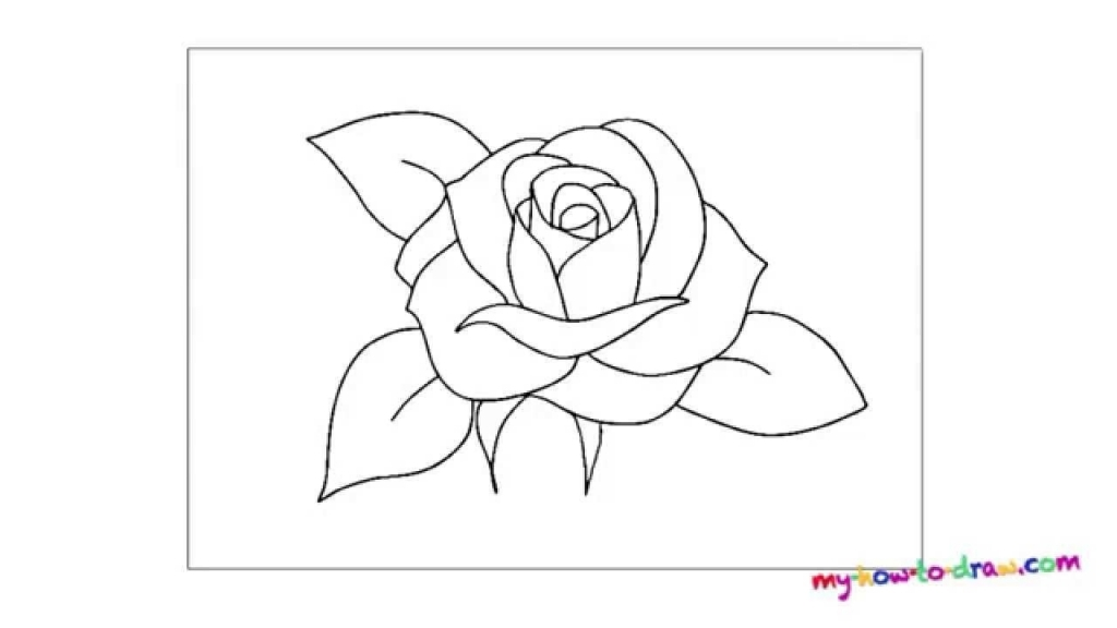 1024x576 Rose Easy Drawing How To Draw A Rose Flower Easy Line Drawing