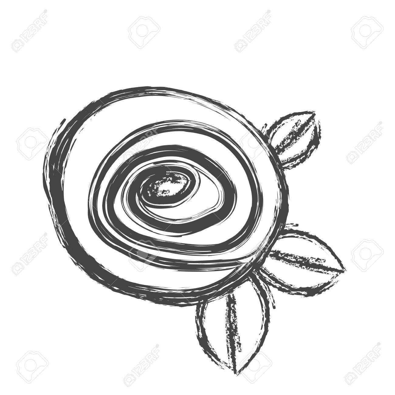 1300x1300 Blurred Silhouette Sketch Drawing Rose With Leaves Closeup Vector