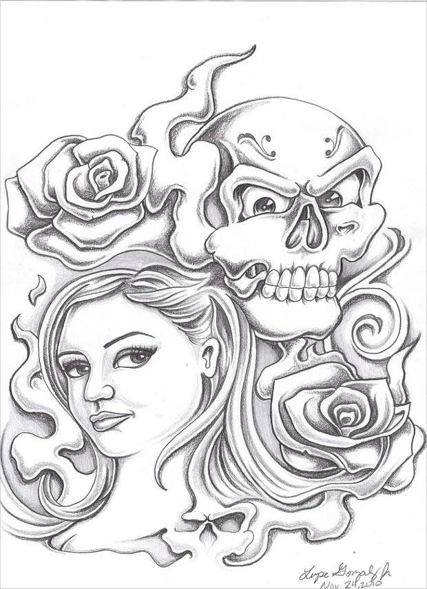 Rose Girl Drawing