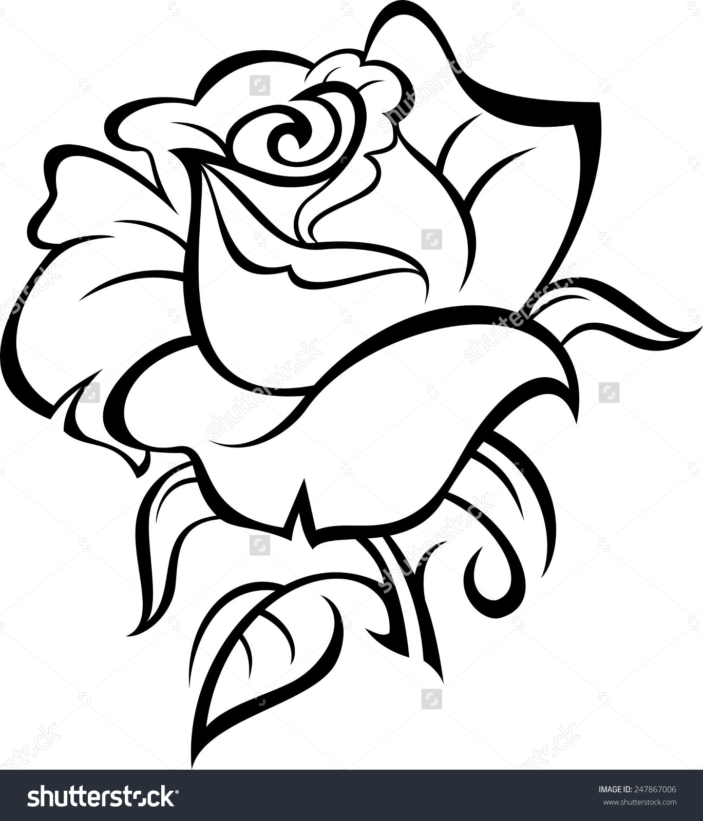 1369x1600 Collection Of Fresh Black Outline Rose Tattoo Design