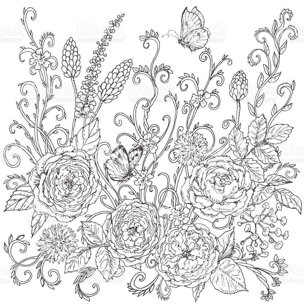 1024x1024 Drawn Floral Rose