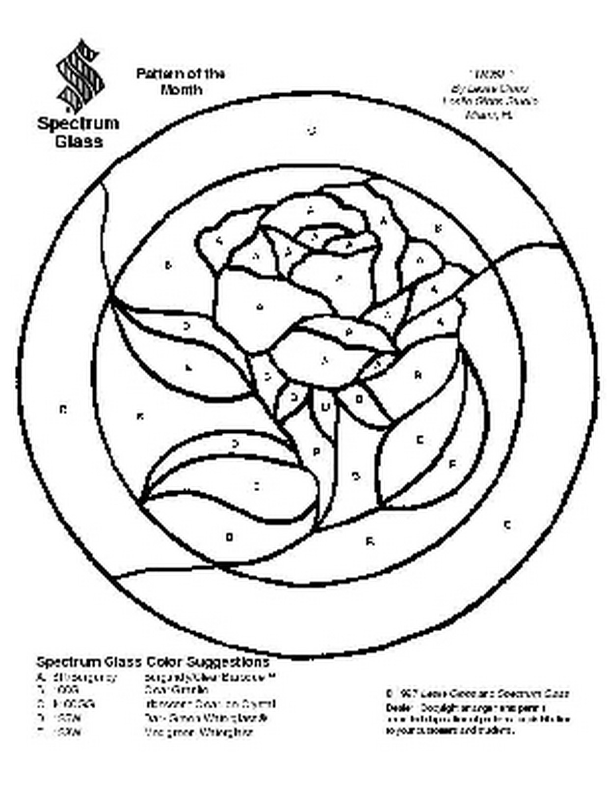 1237x1600 Free Stained Glass Pattern 2104 Rose Patterns By Spectrum
