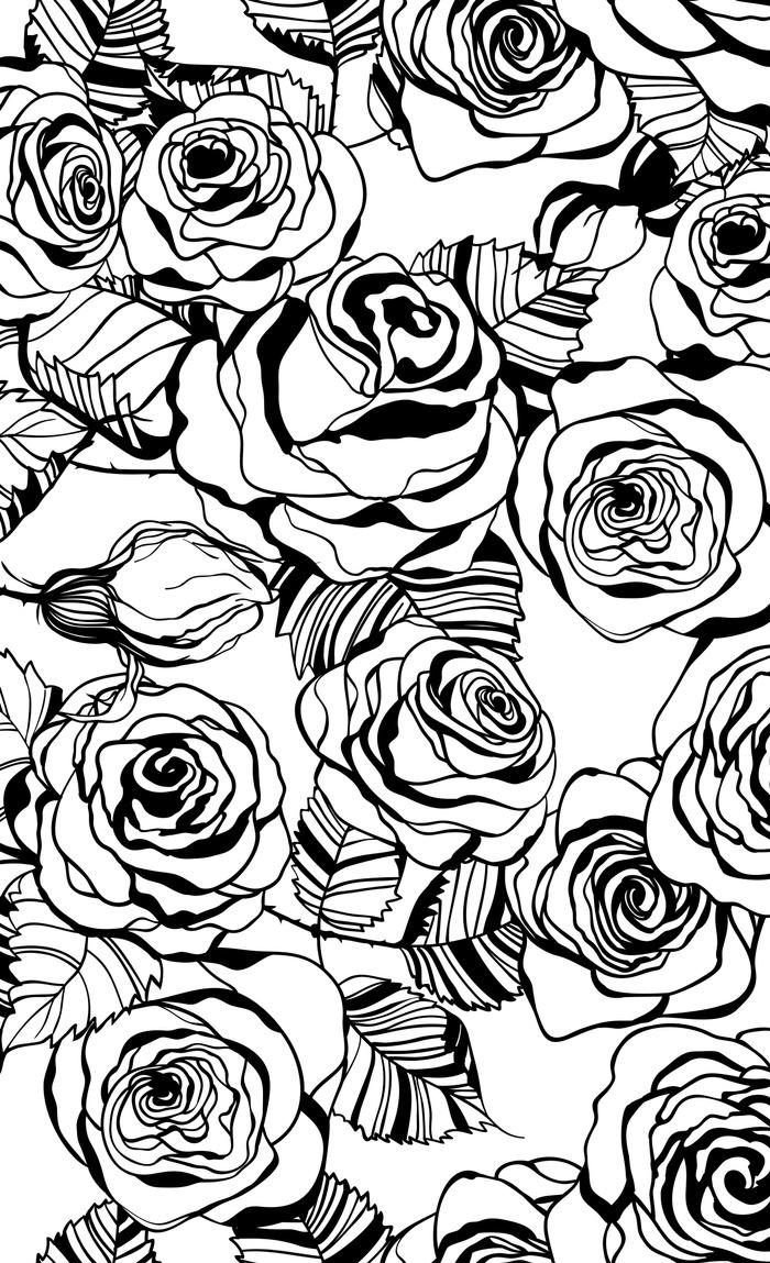 700x1149 Hand Drawn Roses Pattern Window Curtains By Katerinamitkova Society6