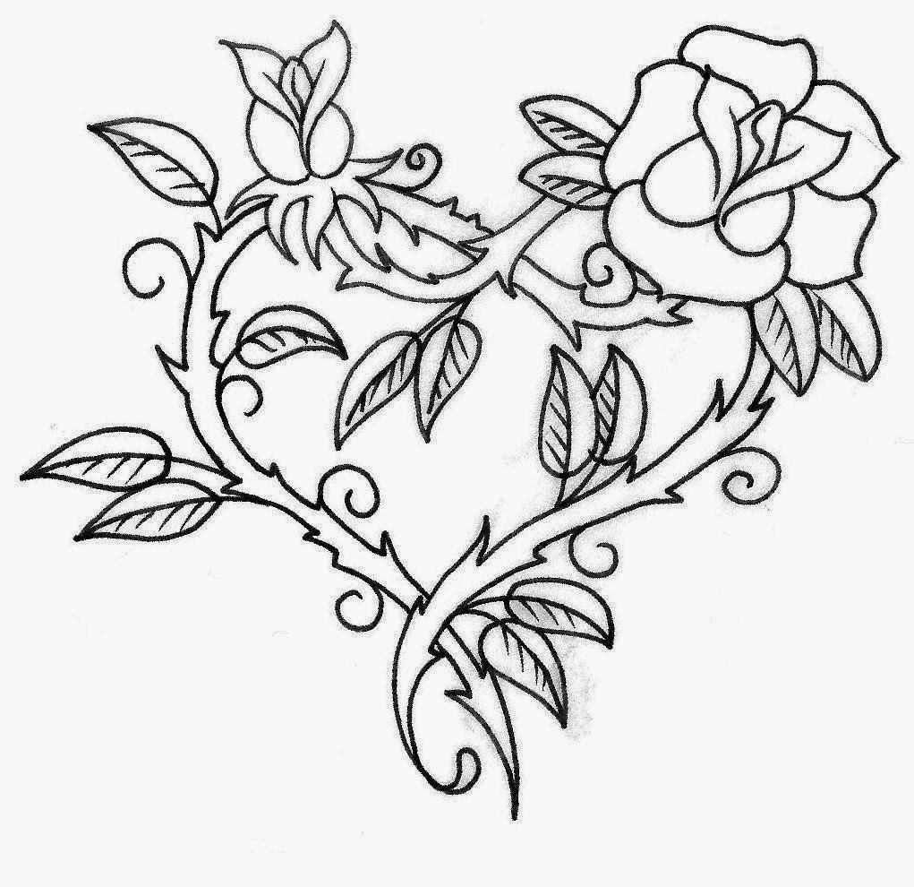 1021x990 Rose Vine Drawing Designs Rose Heart Pattern Paintable Mouse Pad