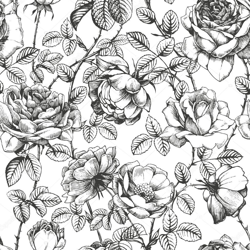 1024x1024 Rose Pattern White Stock Vector Deisey