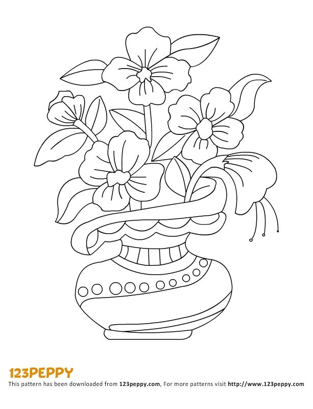 613x800 Vase With Flowers Drawings For Kids