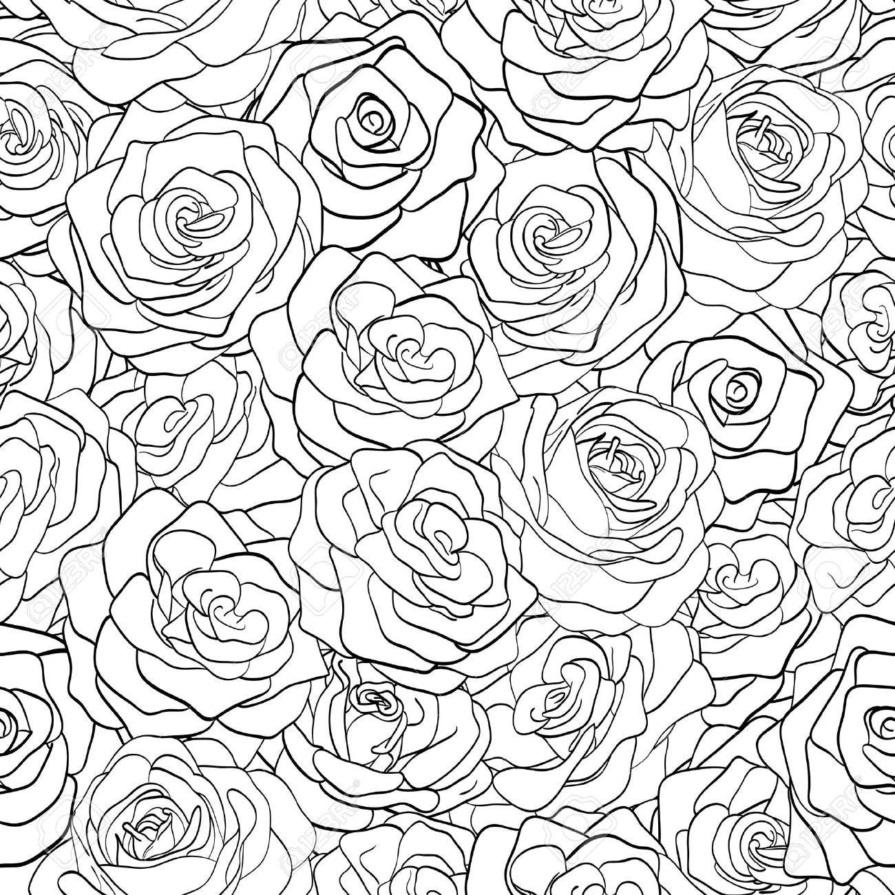 1300x1300 Beautiful Black And White Seamless Pattern In Roses With Contours