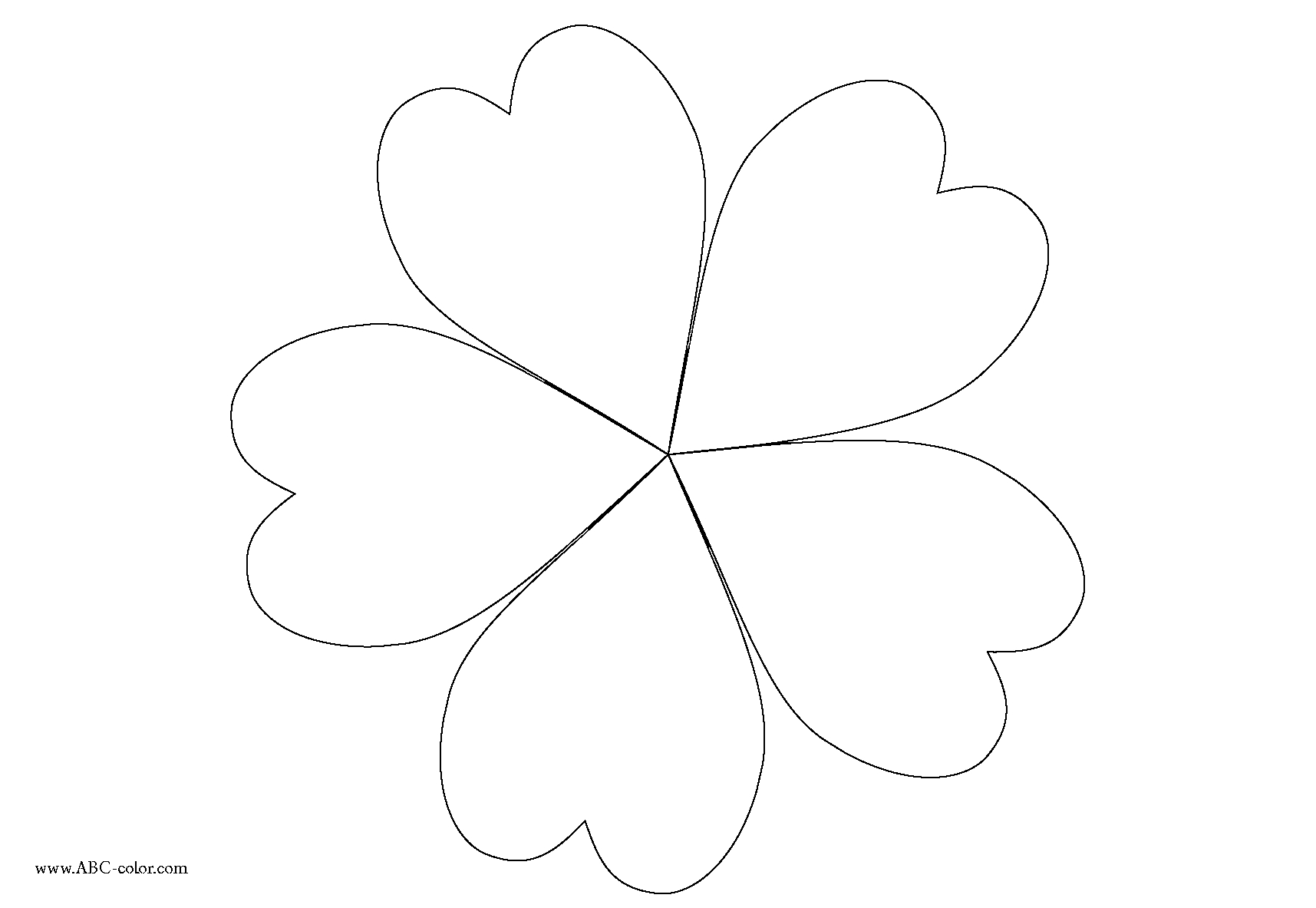 1715x1183 Flower Petals Drawing Five Hearts Coloring. Inflorescence