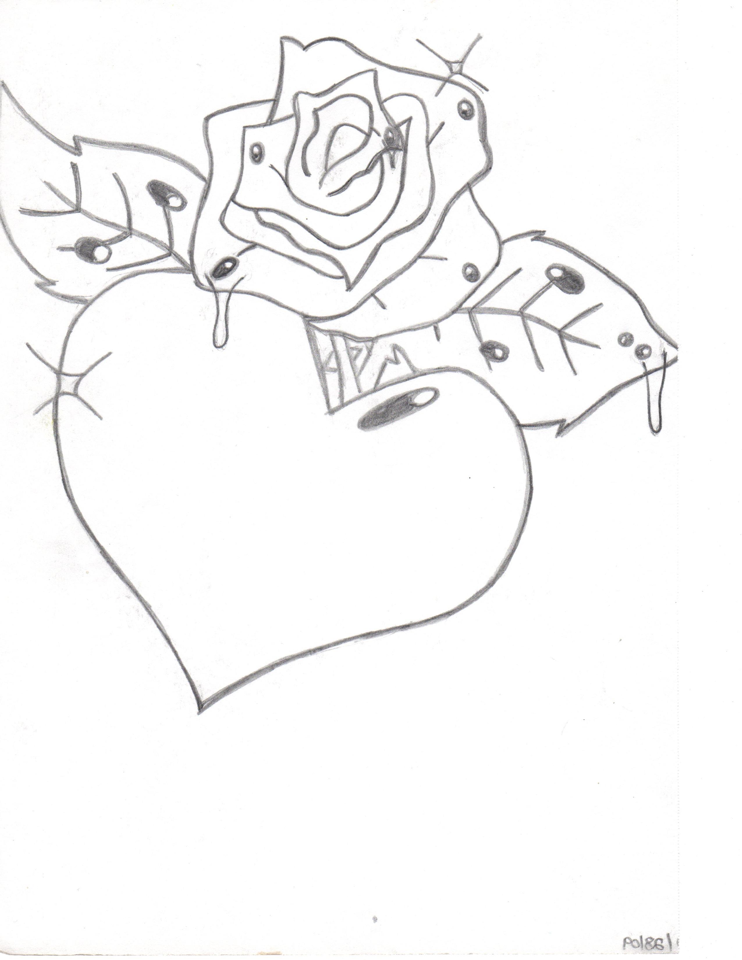 2550x3300 3d Love Rose Drawing