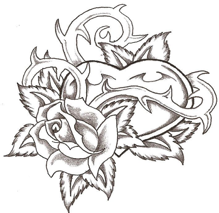 709x692 Gallery Heart And Rose Drawing,