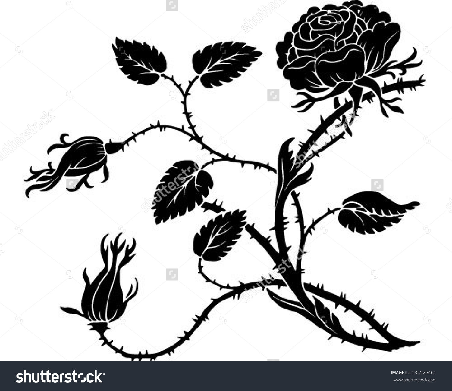 1500x1300 Rose Plant With Thorns Clipart