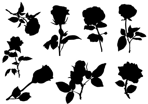 502x352 Lovely Rose Silhouette Vector Free Download Silhouette Clip Art