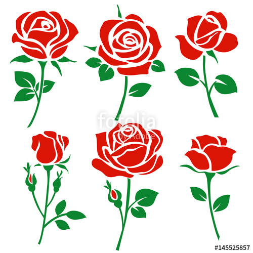 500x500 Set of decorative red rose silhouette with green leaves. Vector
