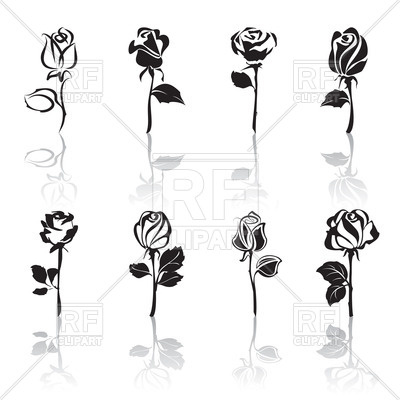 400x400 Stylized rose silhouette Royalty Free Vector Clip Art Image