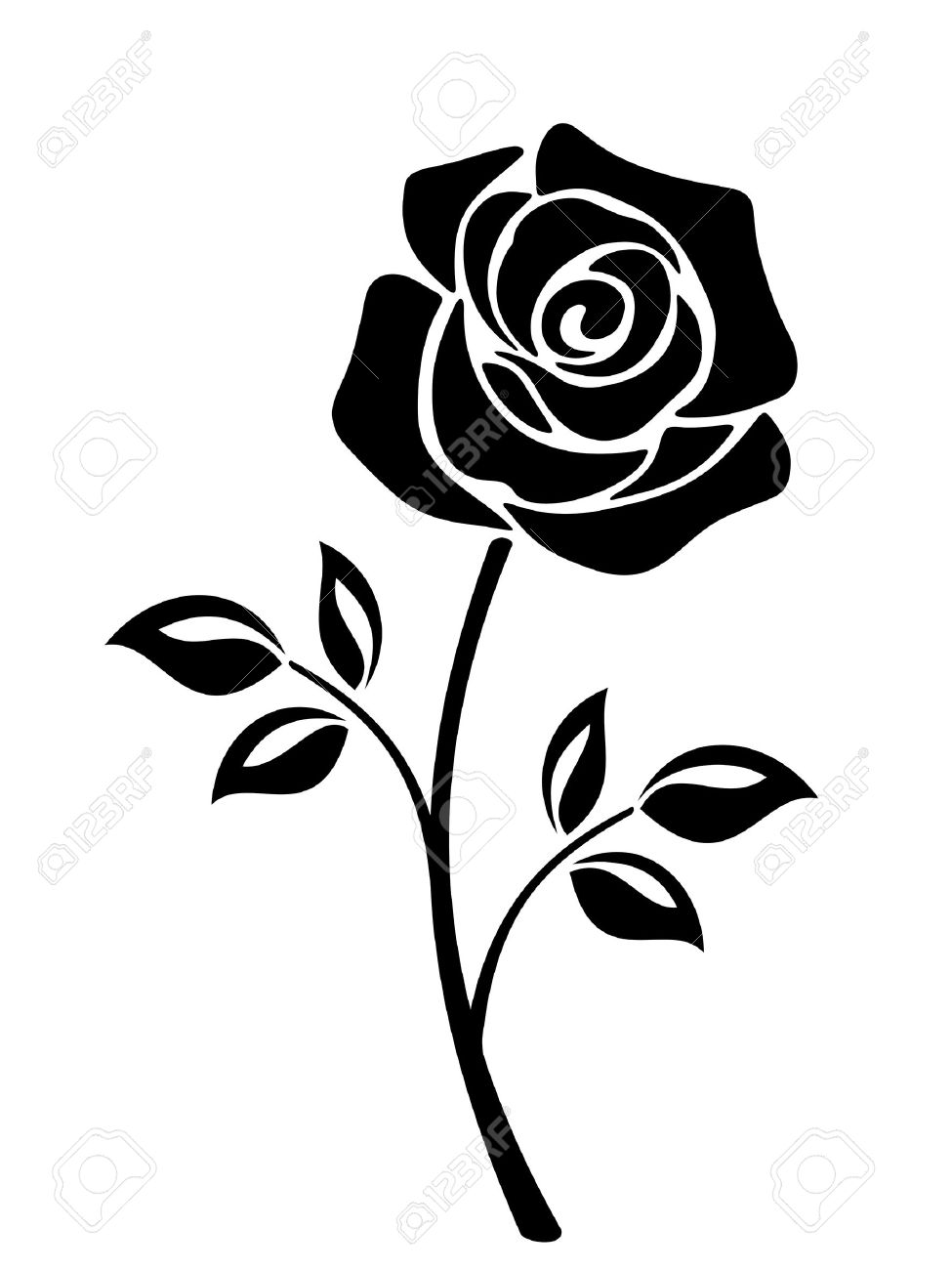 975x1300 Vector Black Silhouette Of A Rose Flower With Stem Isolated On