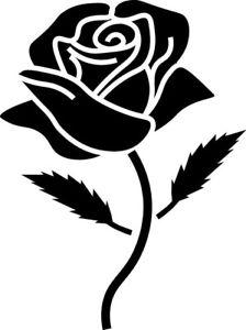 224x300 Window Wall Car Display Retro Rose Flower Silhouette Decal Vinyl