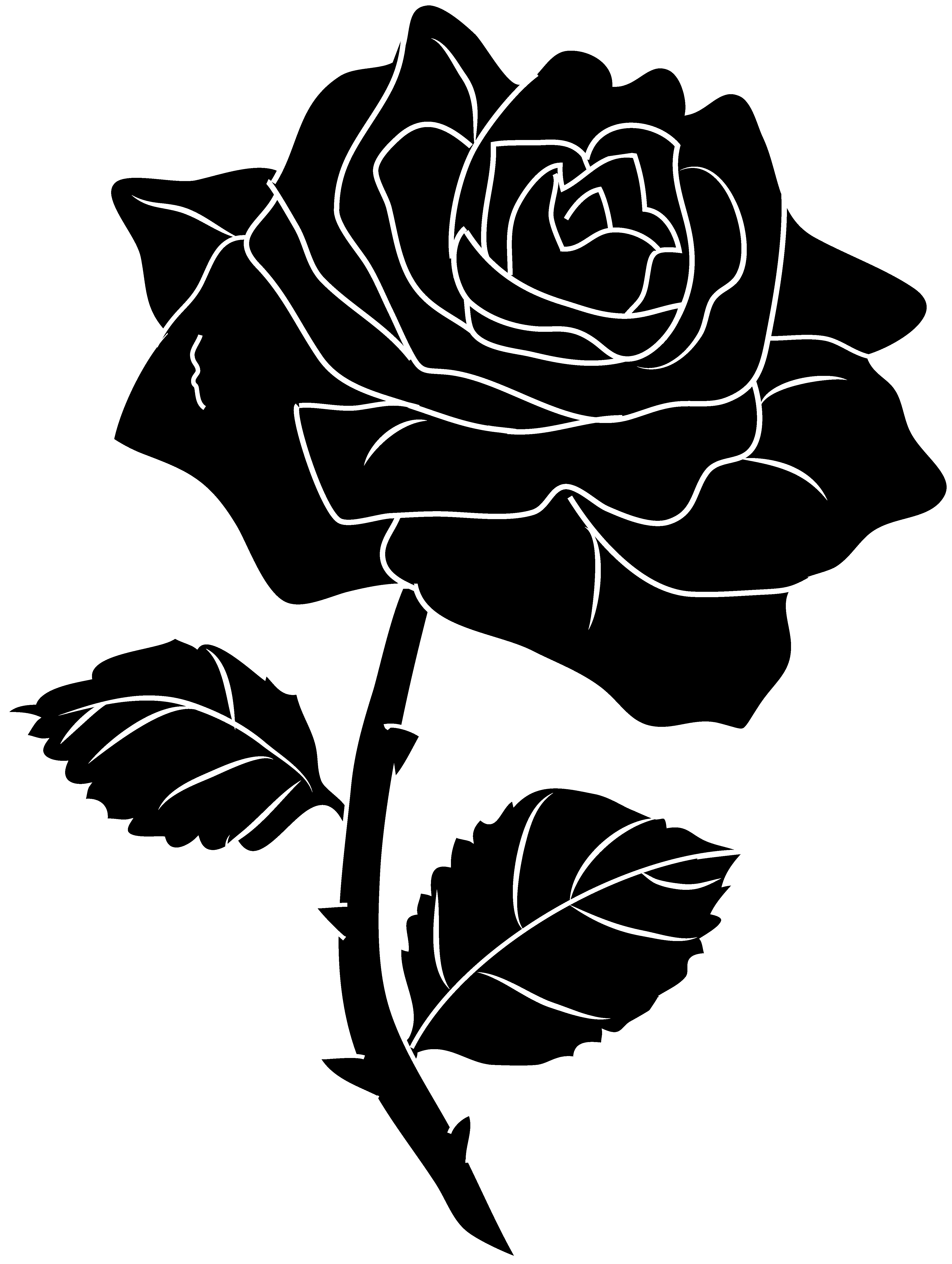 4429x5878 Black Rose Silhouette Clip Art