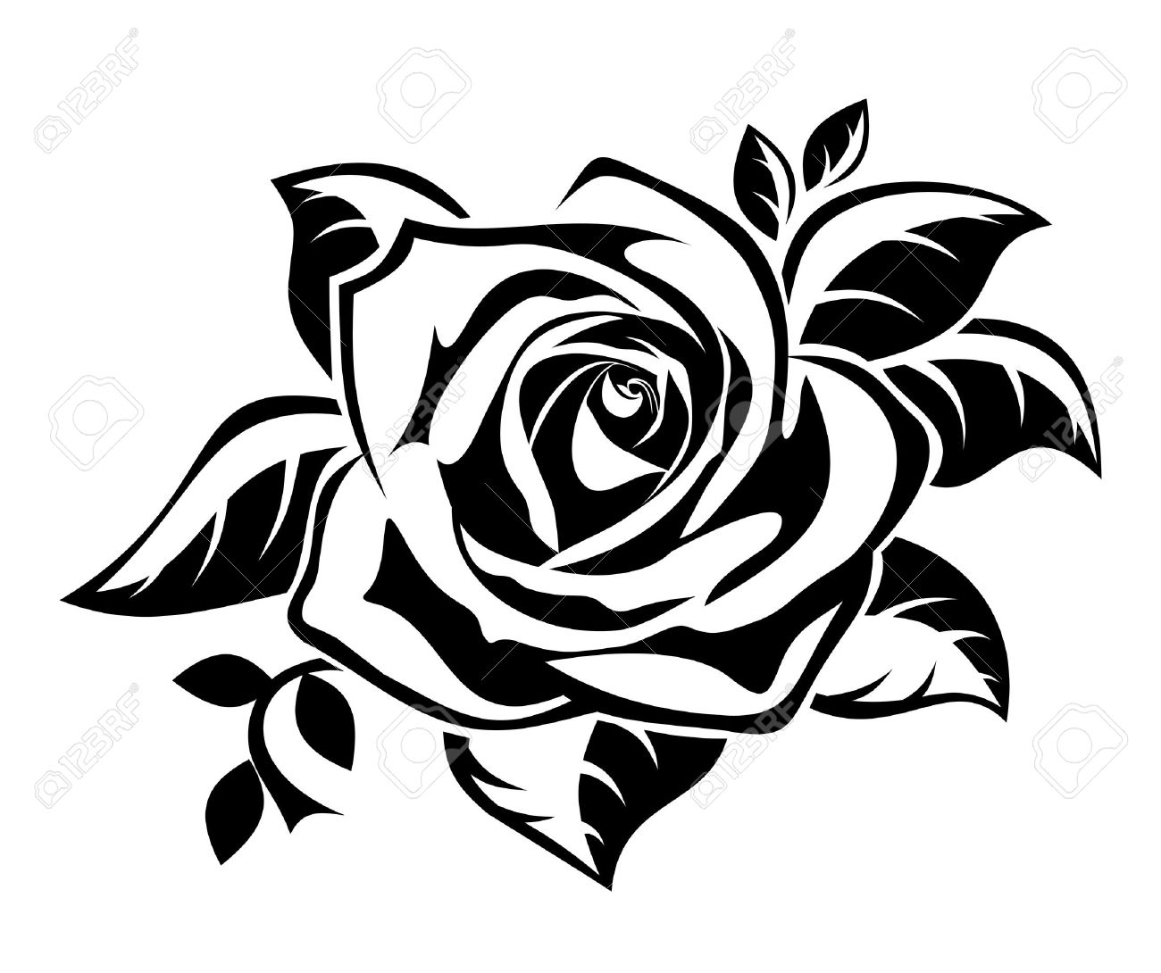 1300x1090 Black Silhouette Of Rose With Leaves. Royalty Free Cliparts