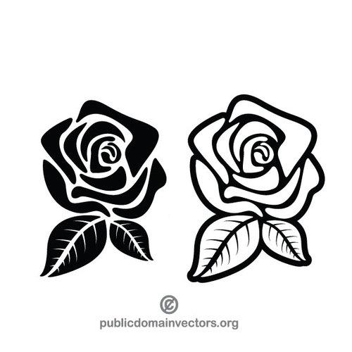 500x500 Black rose silhouette Public domain vectors