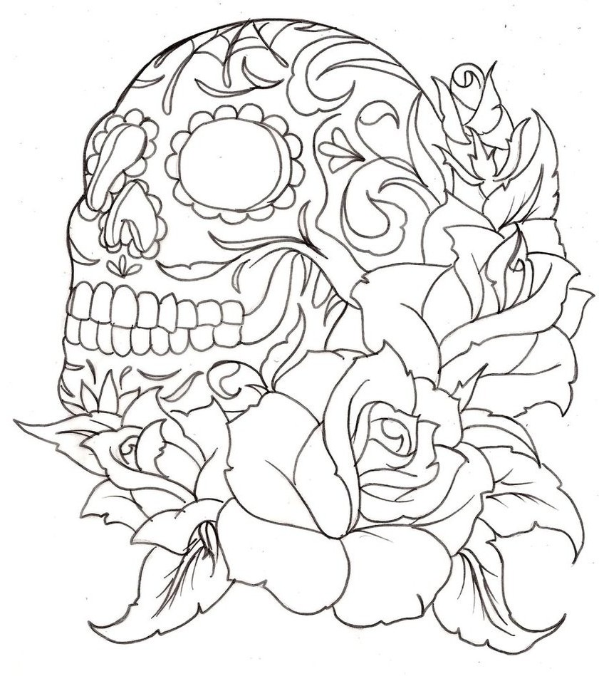 841x949 coloring pages of roses and skulls