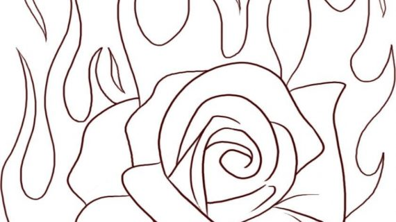 570x320 Steps To Draw A Rose How To Draw A Flaming Rose Step Step Tattoos