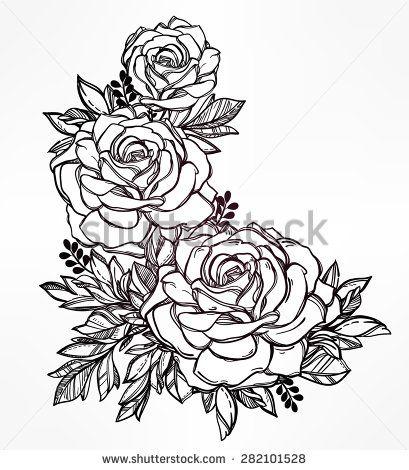 409x470 Flowers Tattoo Drawn