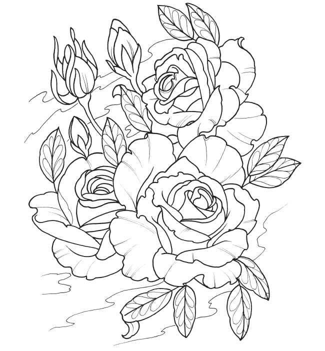 650x702 Rose Tattoo Coloring Book Rose Coloring Pages For Adults