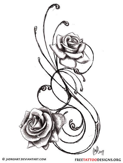 495x658 Swirly Black And Grey Roses Tattoo Design