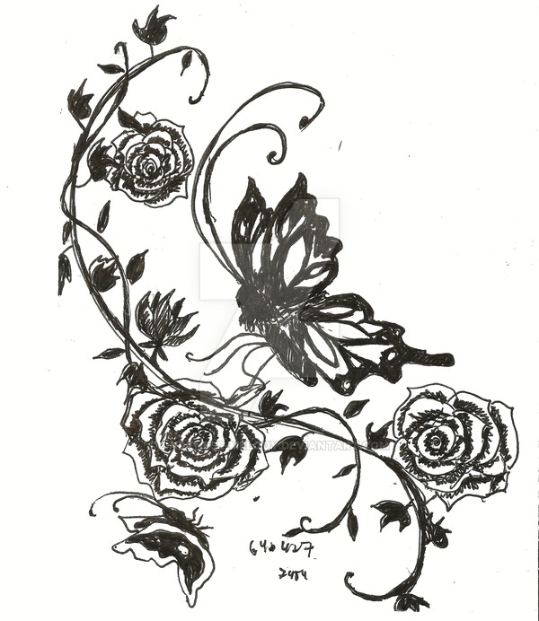 600x692 Tattoo Design Rose And Vine By Darkness Melody