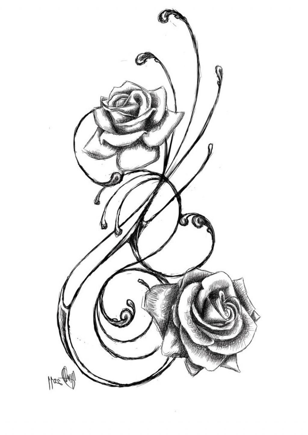 1024x1447 Black Rose Tattoo Drawings