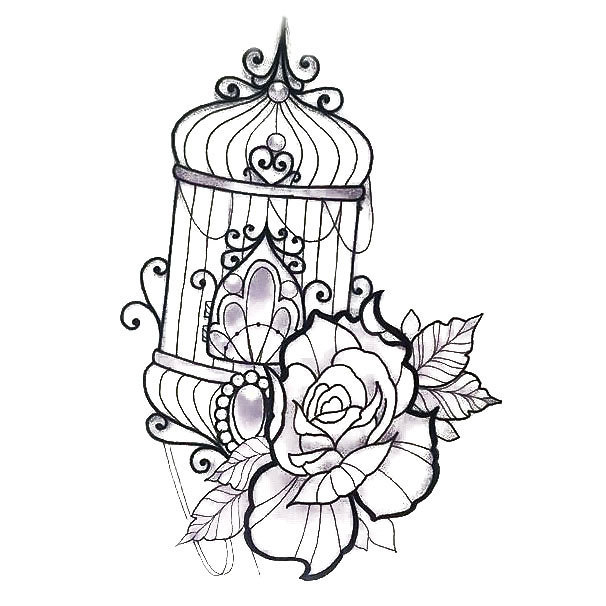606x606 Good Bird Cage Tattoo Designs 88 On Rose Tattoo Designs With Bird