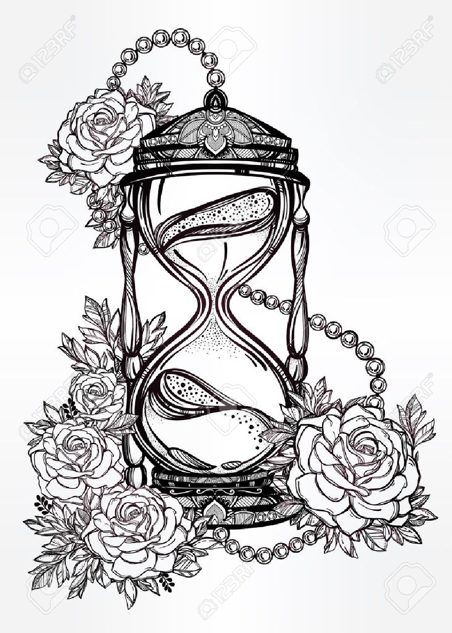 929x1300 Hand Drawn Romantic Beautiful Drawing Of A Hourglass With Roses