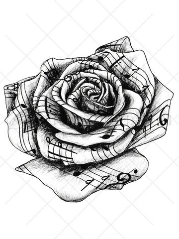 360x480 Music Rose Tattoo