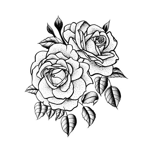 600x600 Twin Rose Temporary Tattoo Set Of 2 Yo Tattoo Set