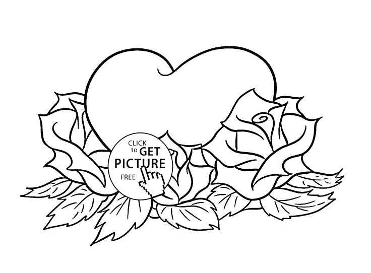 736x542 coloring pages roses and hearts hearts roses hearts and roses full