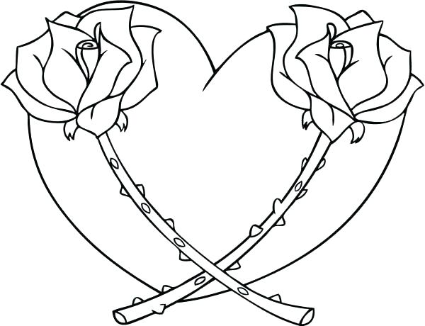 600x460 Coloring Pictures Of Hearts And Roses Drawn Rose Love Heart